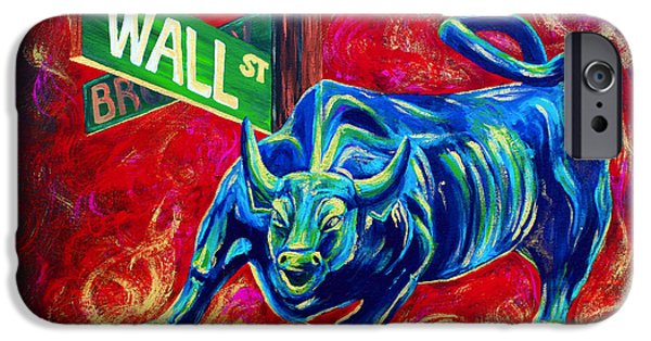 Featured Paintings iPhone Cases - Bull Market iPhone Case by Teshia Art