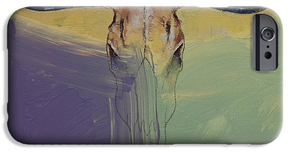Steer Paintings iPhone Cases - Bull iPhone Case by Michael Creese
