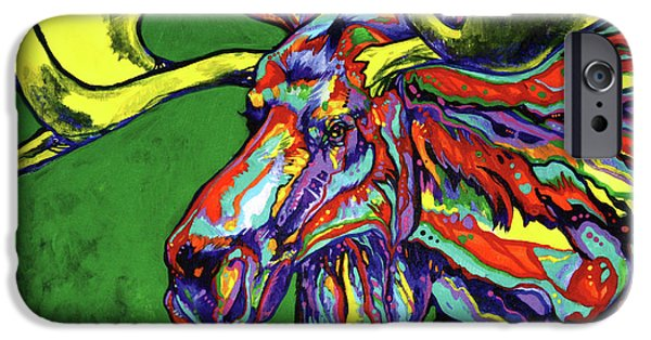 Large Mammals iPhone Cases - Bull Moose iPhone Case by Derrick Higgins