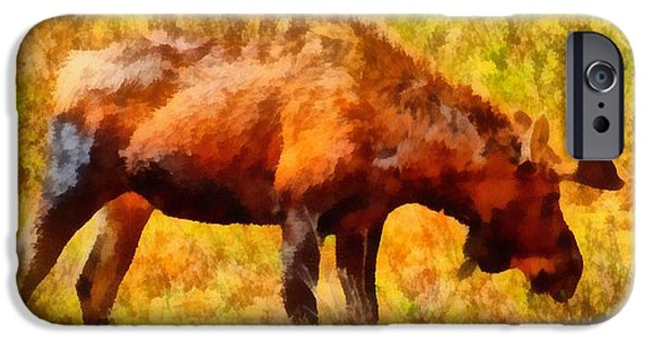 Bulls Mixed Media iPhone Cases - Bull Moose Painting iPhone Case by Dan Sproul