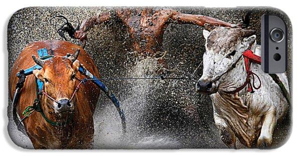Joy iPhone Cases - Bull race iPhone Case by Wei Seng Chen