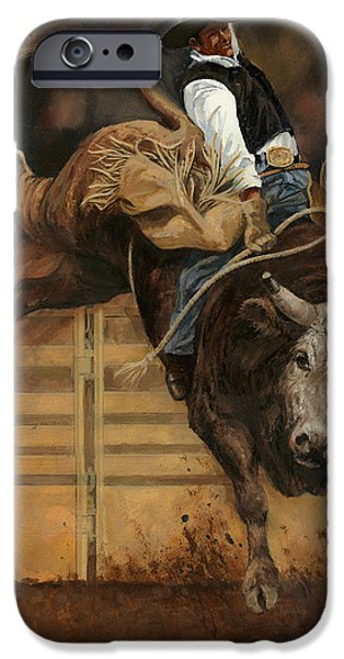 Steer Paintings iPhone Cases - Bull Riding 1 iPhone Case by Don  Langeneckert