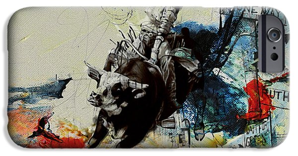 Arlington iPhone Cases - Bull Rodeo 02 iPhone Case by Corporate Art Task Force