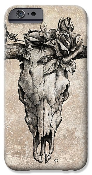 Bulls Mixed Media iPhone Cases - Bull Skull and Rose iPhone Case by Emerico Imre Toth