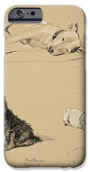 Black Dog iPhone Cases - Bull-terrier, Spaniel And Sealyhams iPhone Case by Cecil Charles Windsor Aldin