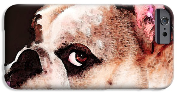 Dogs Digital Art iPhone Cases - Bulldog Art - Lets Play iPhone Case by Sharon Cummings