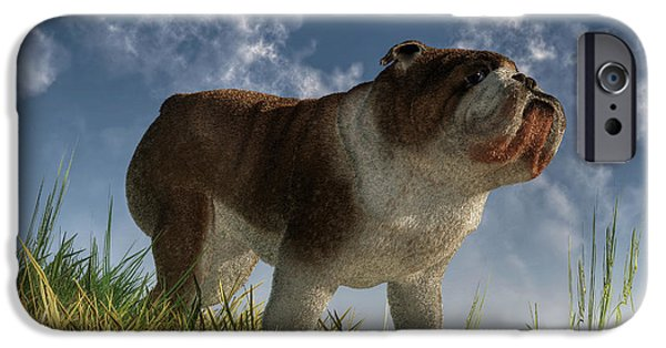 Puppy Digital Art iPhone Cases - Bulldog iPhone Case by Daniel Eskridge