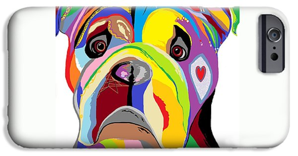 Puppies Digital Art iPhone Cases - Bulldog iPhone Case by Eloise Schneider