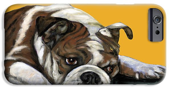 Bulldog iPhone Cases - Bulldog On Yellow iPhone Case by Dale Moses