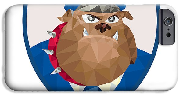 Police Officer iPhone Cases - Bulldog Policeman Shield Low Polygon iPhone Case by Aloysius Patrimonio