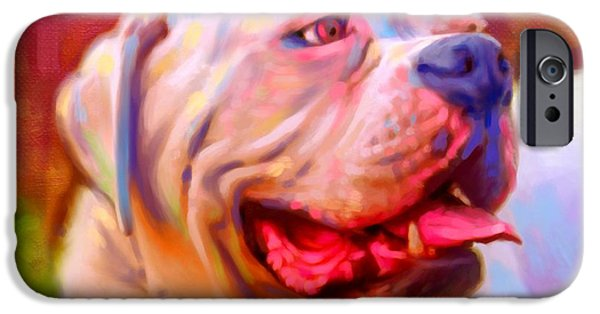 Cute Puppy Pictures Digital Art iPhone Cases - Bulldog Portrait iPhone Case by Iain McDonald