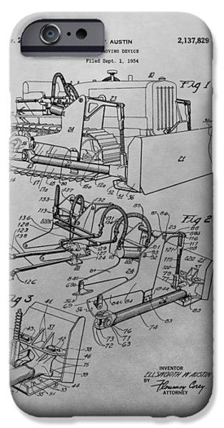 Construction Equipment iPhone Cases - Bulldozer Patent Drawing iPhone Case by Dan Sproul