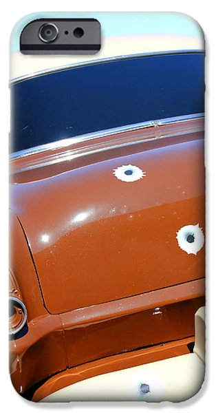 Police Car iPhone Cases - Bullet Holes in Old Police Car iPhone Case by Sophie Vigneault