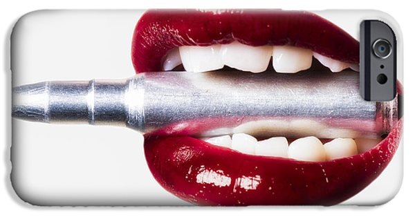 Ammunition iPhone Cases - Bullet Lips Red edition iPhone Case by Erik Brede