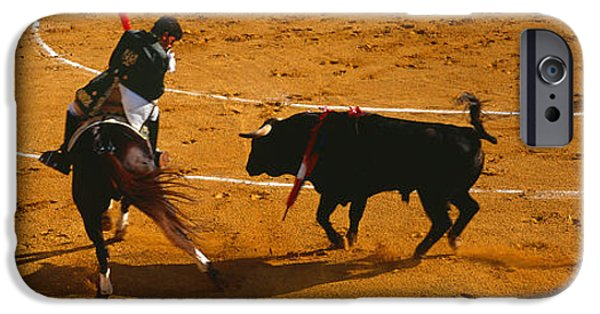 Malaga iPhone Cases - Bullfighter Taunting Bull In Ring iPhone Case by Panoramic Images