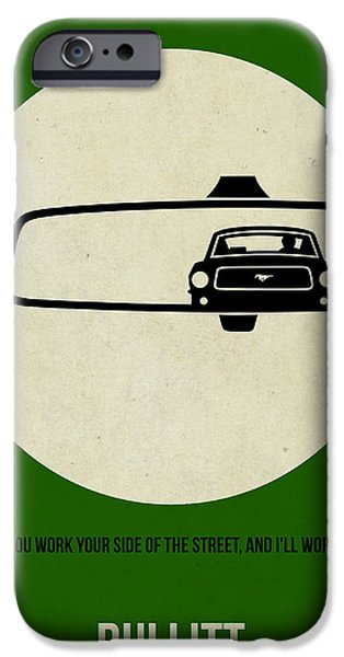 Mustang iPhone Cases - Bullitt Poster iPhone Case by Naxart Studio