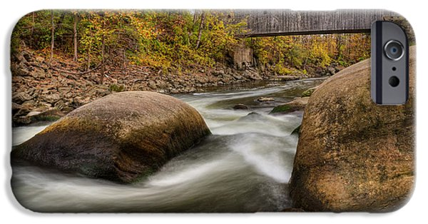 Southern New England iPhone Cases - Bulls Bridge Autumn iPhone Case by Bill  Wakeley