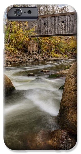 Bulls Bridge Autumn Square iPhone Case by Bill  Wakeley