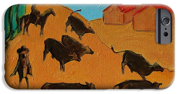 In Attendance iPhone Cases - Bulls on the Run with Two Riders 2 iPhone Case by Thomas Bertram POOLE