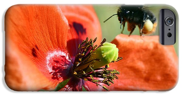 Close Up Floral Mixed Media iPhone Cases - Bumblebee macro iPhone Case by Toppart Sweden