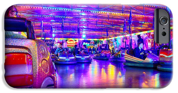 Oktoberfest iPhone Cases - Bumper Cars at the Octoberfest in Munich iPhone Case by Sabine Jacobs