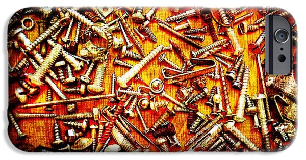 Component iPhone Cases - Bunch of Screws 4 - Digital effect iPhone Case by Debbie Portwood
