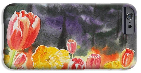 Holland Paintings iPhone Cases - Bunch Of Tulips I iPhone Case by Irina Sztukowski