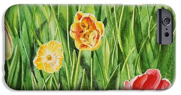 Holland Paintings iPhone Cases - Bunch Of Tulips II iPhone Case by Irina Sztukowski