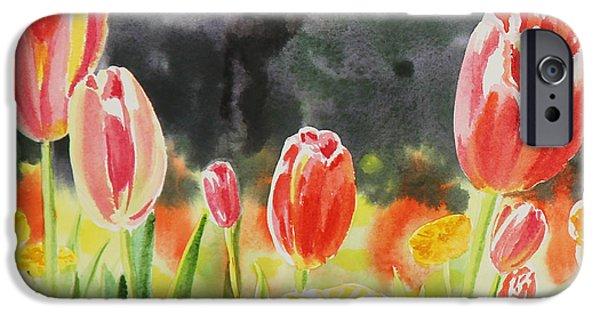 Holland Paintings iPhone Cases - Bunch Of Tulips III iPhone Case by Irina Sztukowski