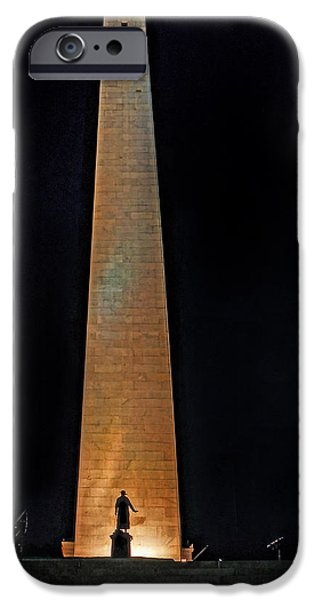 Prescott iPhone Cases - Bunker Hill Monument 01 iPhone Case by Jeff Stallard