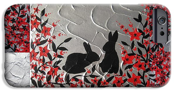 Cherry Blossoms Mixed Media iPhone Cases - Bunnies in blossom iPhone Case by Cathy Jacobs