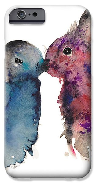 Bunnies in love iPhone Case by Kristina Broza