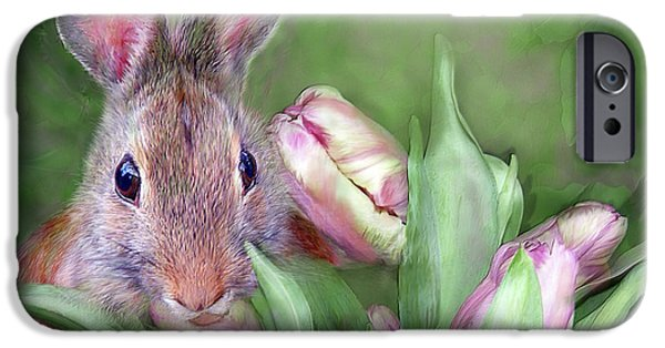 Flower Art Prints iPhone Cases - Bunny In The Tulips iPhone Case by Carol Cavalaris