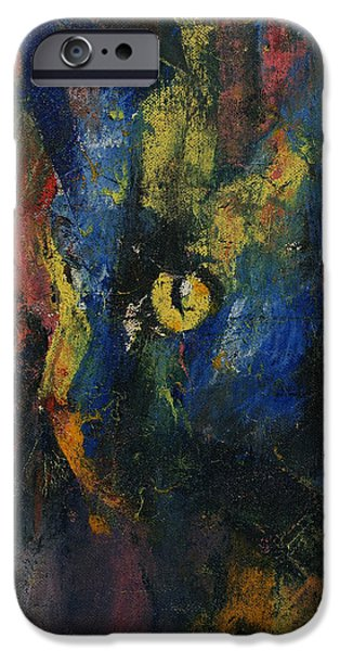 Trippy Paintings iPhone Cases - Blue Cat iPhone Case by Michael Creese