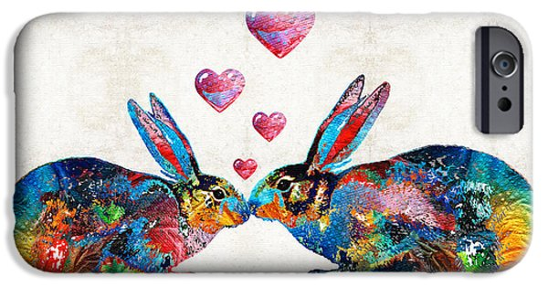 Rabbit iPhone Cases - Bunny Rabbit Art - Hopped Up On Love - By Sharon Cummings iPhone Case by Sharon Cummings