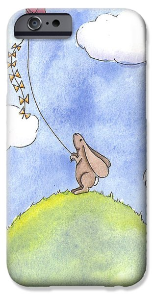 Studio Drawings iPhone Cases - Bunny with a Kite iPhone Case by Christy Beckwith