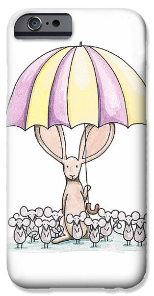 Bunny with Umbrella iPhone Case by Christy Beckwith