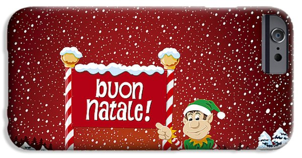 Holiday iPhone Cases - Buon Natale Sign Christmas Elf Winter Landscape iPhone Case by Frank Ramspott