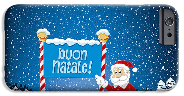 Santa iPhone Cases - Buon Natale Sign Santa Claus Winter Landscape iPhone Case by Frank Ramspott