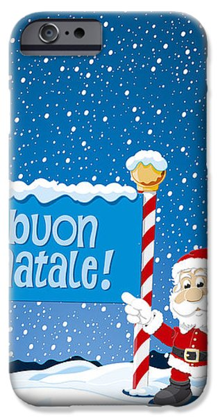 Buon Natale Sign Santa Claus Winter Landscape iPhone Case by Frank Ramspott
