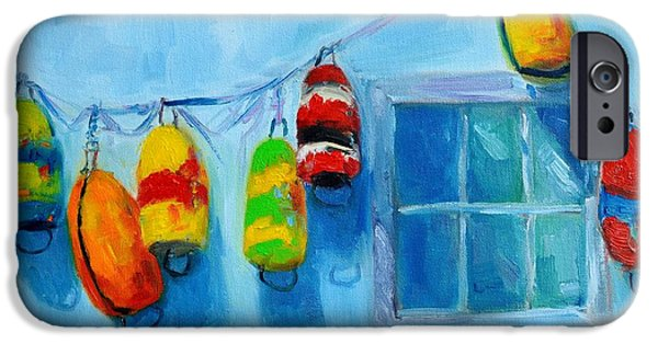 Bouys Paintings iPhone Cases - Painted Buoys and Boat Floats  iPhone Case by Patricia Awapara