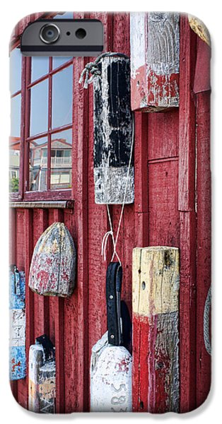 Rockport Ma iPhone Cases - Buoys on Motif 1 iPhone Case by Nikolyn McDonald