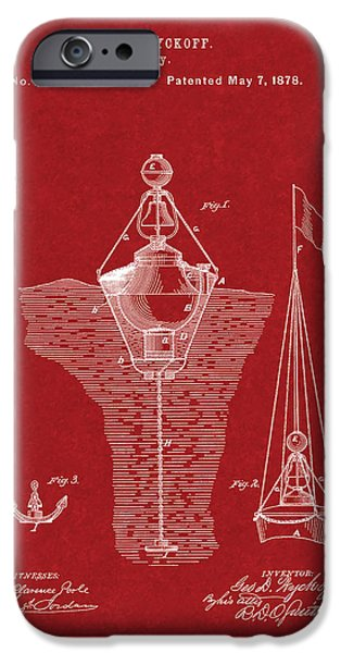 Sailboats iPhone Cases - Buoys Patent - Burgundy Red iPhone Case by BJ Simpson