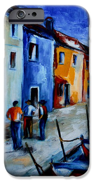Harbor Paintings iPhone Cases - Burano Conversation iPhone Case by Elise Palmigiani