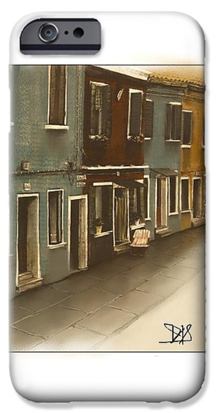 Buildings Mixed Media iPhone Cases - Burano Italy   No 34 iPhone Case by Diane Strain