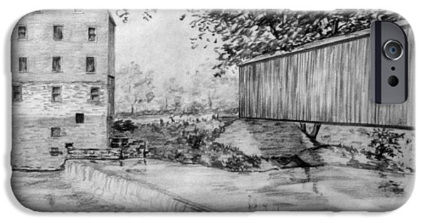 Covered Bridge Drawings iPhone Cases - Burfordsville Bridge and Bollinger Mill iPhone Case by James Pinkerton