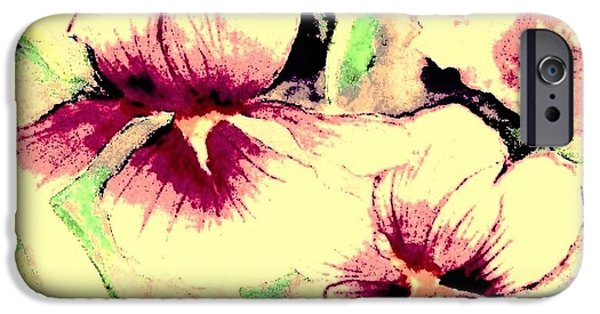 Garden Scene Paintings iPhone Cases - Burgundy and Pink Irises iPhone Case by Hazel Holland