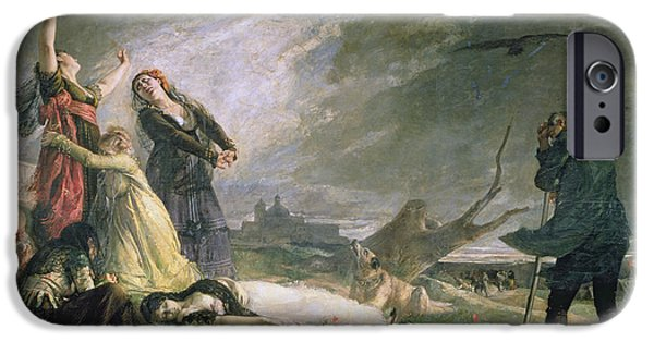 Anguish iPhone Cases - Burial At La Moncloa In May 1808 Oil On Canvas iPhone Case by Vincente Gonzalez Palmaroli