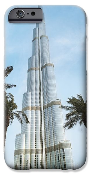 Modern Pyrography iPhone Cases - Burj Khalifa iPhone Case by Jelena Jovanovic