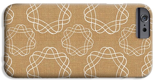 Tan iPhone Cases - Burlap and White Geometric Flowers iPhone Case by Linda Woods